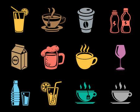 Drinks icons set Vector illustration.