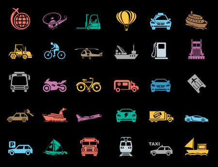 Transport Icons set Banque d'images - 95646085