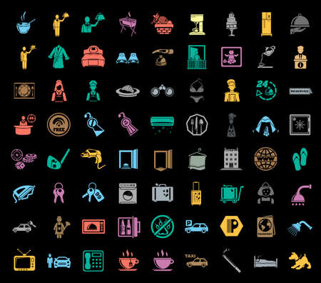 Colorful varied hotel icons set