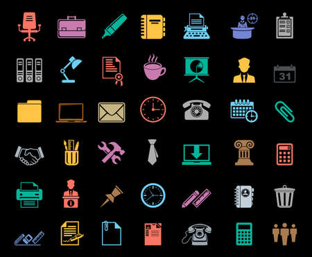 Office icons set Vector illustration. Banque d'images - 95691389