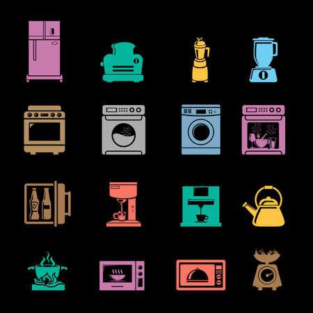 Various kitchen appliances icons