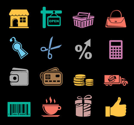 Shopping Icon set Banque d'images - 95662002