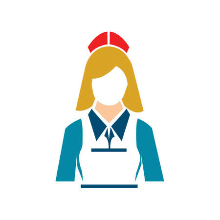 waiter girl illustration - hotel and catering vector avatar icon