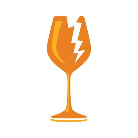 Broken symbol, vector icon - Broken glass wine. cargo sign