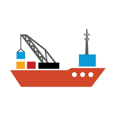 vector shipping boat illustration - travel icon - cruise boat symbol