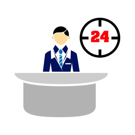 reception desk icon illustration