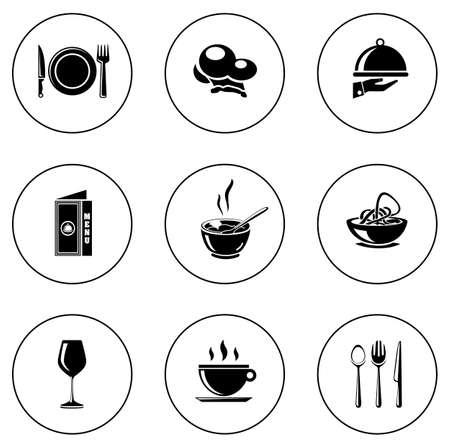 restaurant icons Stock Illustratie