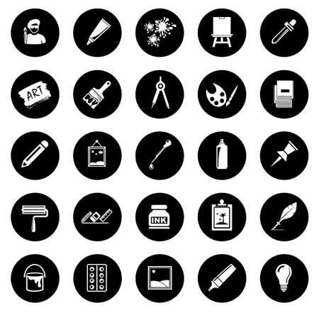 Art icons set illustration