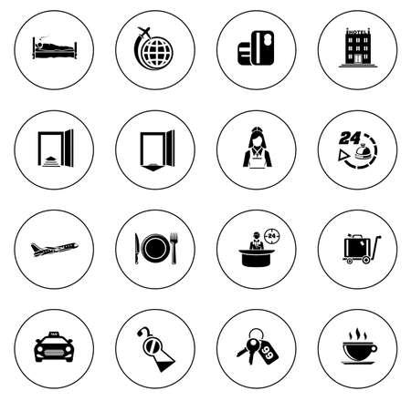 Hotel icons illustration