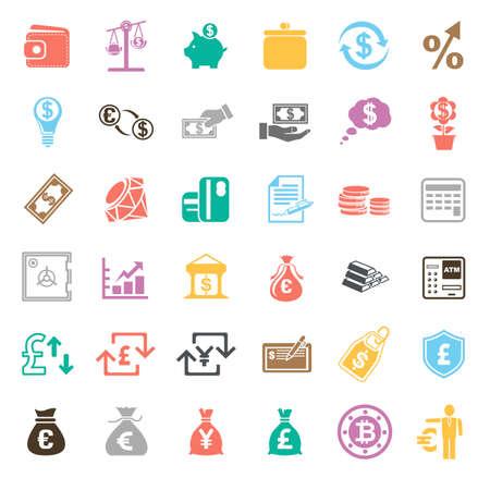 Money icons set illustration