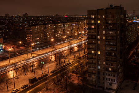 quarters: View from a height on a street at night in sleeping quarters