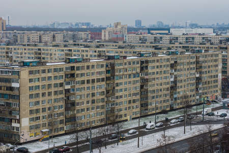 quarters: The sleeping quarters in winter, view from the aerial view Stock Photo