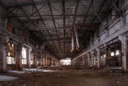 Dilapidated workshop of the abandoned factory Banco de Imagens