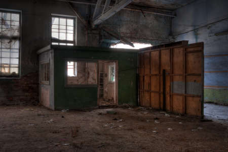 dilapidated: Dilapidated workshop of the abandoned factory Stock Photo