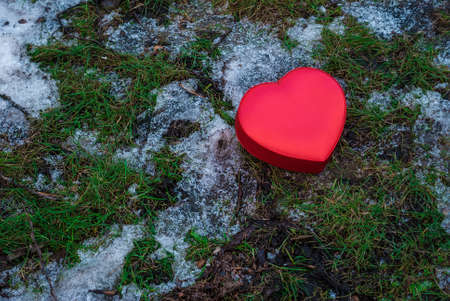 winter thaw: Red box heart shaped on snowy grass in winter park