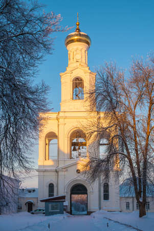 11th century: Convent belfry in winter scene at sunset. St. Georges Monastery in Veliky Novgorod, Russia