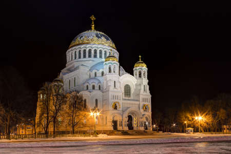 saint nicholas: TheNaval cathedral of Saint Nicholas in night winer scene, Kronstadt, Russia. HDR