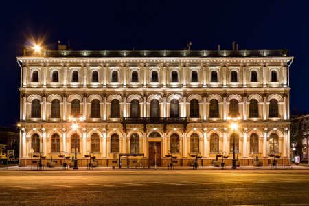 St. Petersburg, Russia - May 31, 2016: Night illuminated facade of building of NIVavilov Institute of Plant Genetic Resourses front view