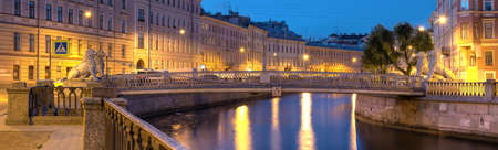 st petersburg: Night view on illuminated Griboedov Canal and Lions Bridge, St. Petersburg, Russia
