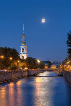 st nicholas: Night view on illuminated Kryukov Canal and St. Nicholas Naval Cathedral, St. Petersburg, Russia
