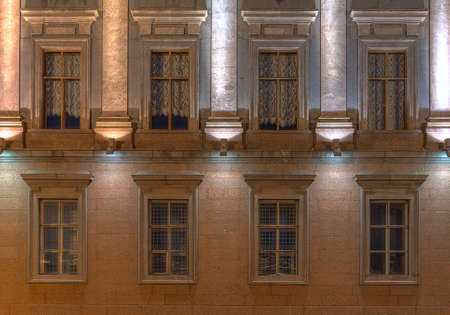 marble palace: St. Petersburg, Russia - August 4, 2016: Several windows in a row on night illuminated facade of Marble Palace museum front view Editorial