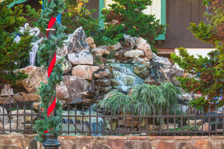 ornamentations: The decorated beautiful waterfall with Christmas ornamentations, Helen, USA