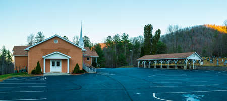 Panoramic view of the church, the refectory and the parking located on Unicoi Turnpike, Georgia, USA