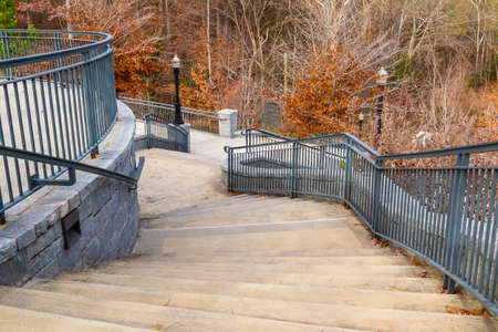 grate: Curved staircase to Grand Arbor in the Piedmont Park in autumn day, Atlanta, USA