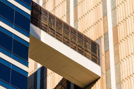 passageway: The glass passageway between two office skyscrapers bottom view, Atlanta, USA Stock Photo