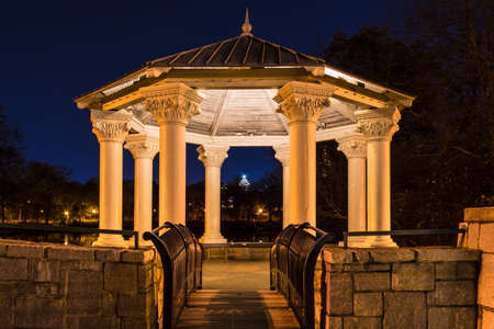 Night view of illuminated Clara Meer Gazebo in the Piedmont Park, Atlanta, USA Stock Photo