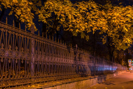 Night view of illuminated ornamental fence and autumn trees of Yusupov Garden, Saint Petersburg, Russia