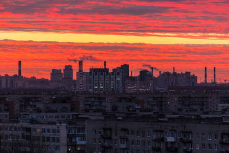 Aerial view of commuter town of Saint Petersburg with beautiful sky at sunset, Russia Stock Photo