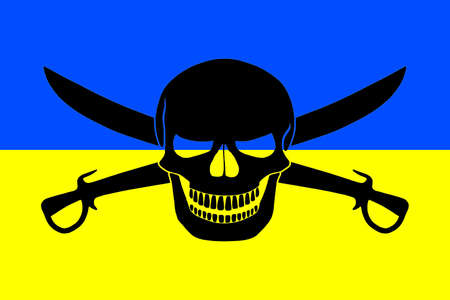 Ukrainian flag combined with the black pirate image of Jolly Roger with cutlasses Stock Photo