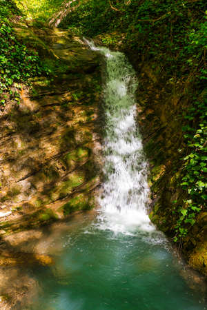 Waterfall and wall with ivy in the park Berendeyevo Tsarstvo in sunny summer day, Sochi, Russia Stock Photo