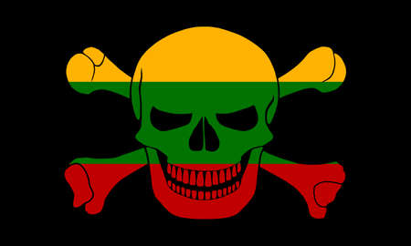 Black pirate flag with the image of Jolly Roger with crossbones combined with colors of the Lithuanian flag Stock Photo