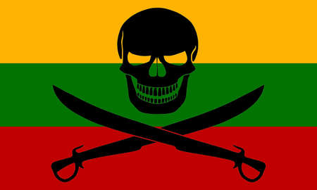 Lithuanian flag combined with the black pirate image of Jolly Roger with cutlasses
