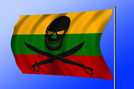 Waving Lithuanian flag combined with the black pirate image of Jolly Roger with cutlasses Imagens