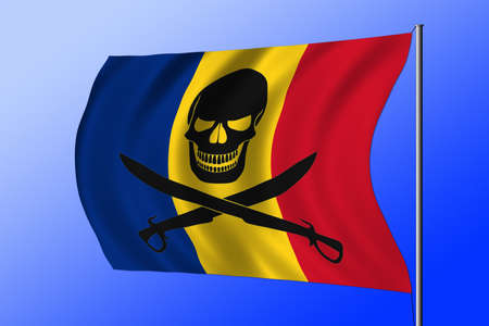 Waving Romanian flag combined with the black pirate image of Jolly Roger with cutlasses Foto de archivo