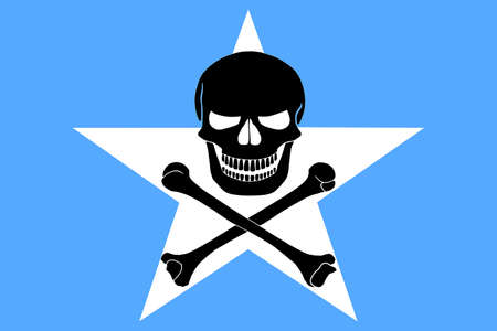 Somalian flag combined with the black pirate image of Jolly Roger with crossbones Banque d'images