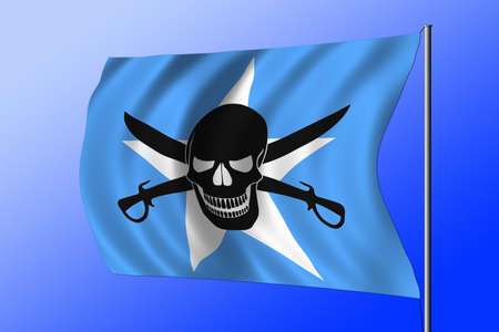 Waving Somalian flag combined with the black pirate image of Jolly Roger with cutlasses