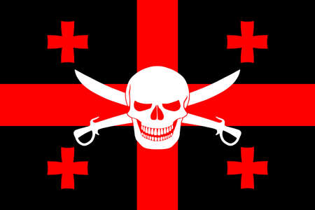 Black pirate flag with the image of Jolly Roger with cutlasses combined with colors of the Georgian flag