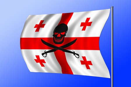 Waving Georgian flag combined with the black pirate image of Jolly Roger with cutlasses