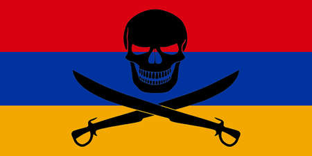 Armenian flag combined with the black pirate image of Jolly Roger with cutlasses