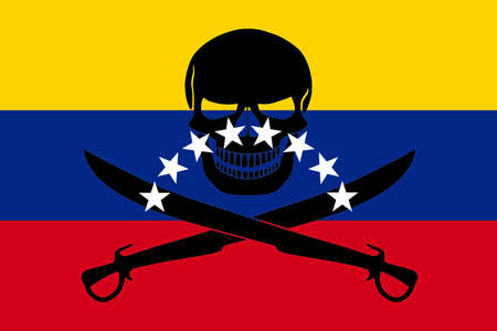 Venezuelan flag combined with the black pirate image of Jolly Roger with cutlasses Stock Photo