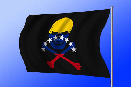 Waving black pirate flag with the image of Jolly Roger with crossbones combined with colors of the Venezuelan flag