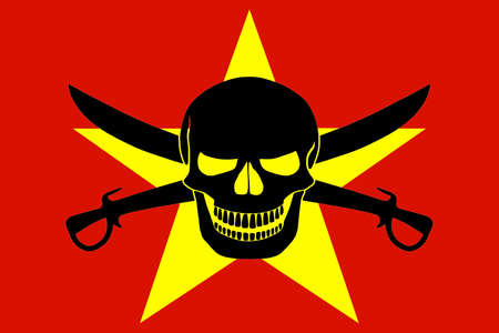 Vietnamese flag combined with the black pirate image of Jolly Roger with cutlasses Stock Photo