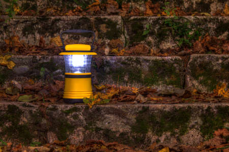 Luminous hand lantern standing on a dilapidated stone stairs covered with grass and dry leaves at night