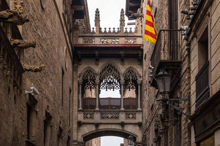 Low-angle front view of the Bishop's Bridge in the Gothic Quarter, Barcelona, Spain