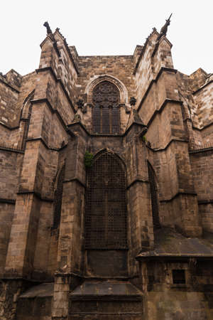 Low-angle view of the facade of the Cathedral of the Holy Cross and Saint Eulalia, Barcelona, Spain Stock Photo