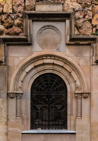 The door of the stone crypt on the Montjuic Cemetery closeup front view, Barcelona, Catalonia, Spain Archivio Fotografico